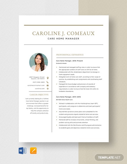 Care Home Manager Resume Template
