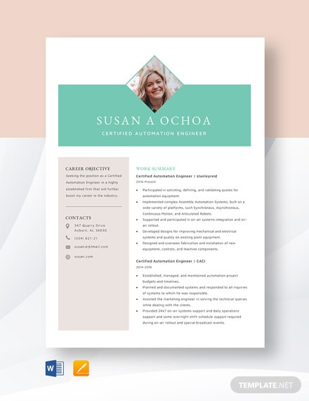 Certified Automation Engineer Resume Template