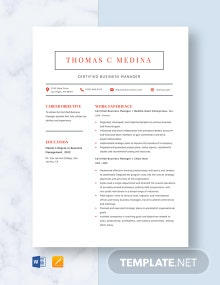 Certified Business Manager Resume Template