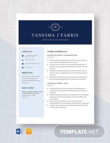 Certified Case Manager Resume Template