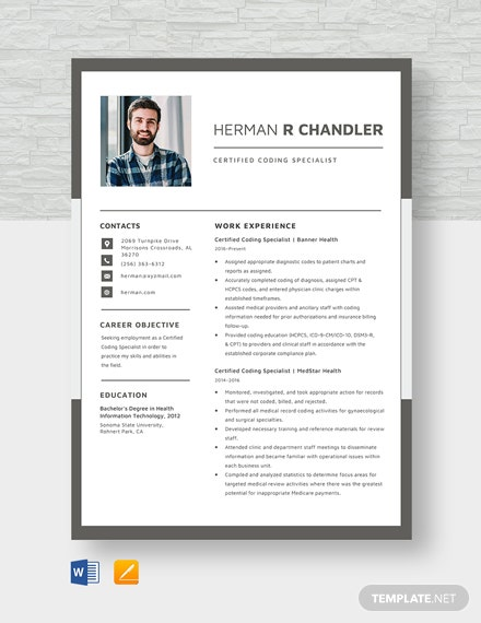 certified coding specialist resume template  download 1815