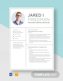 Certified Diabetes Educator Resume Template