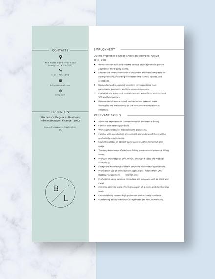Claim Processor Resume Template