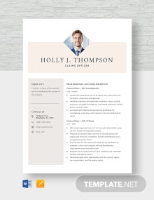 Claims Officer Position Resume Template