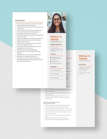 Claims Representative Resume Download