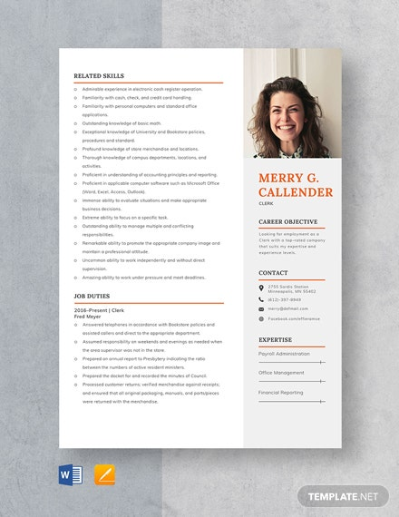 Clerk Resume Template