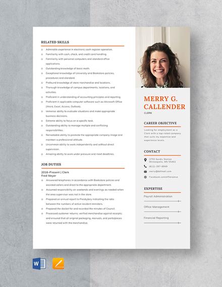 Clerk Resume Template
