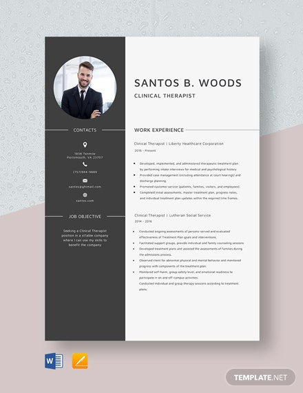 Clinical Therapist Resume Template