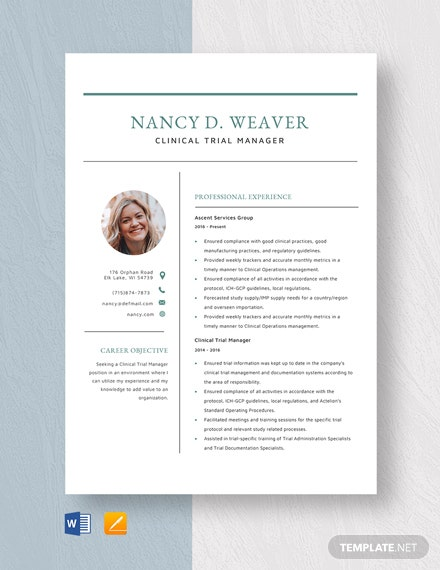 clinical project manager resume template