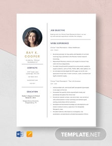 Clinical Trial Pharmacist Resume Template