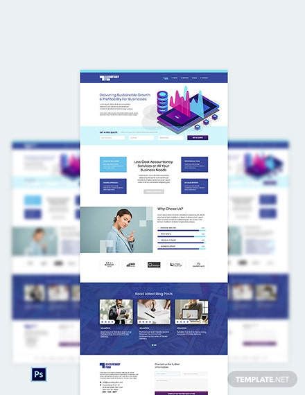 Accountancy Firm PSD Landing Page Template