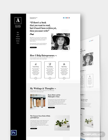 Author & Writer PSD Landing Page Template