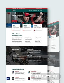 Car Repair PSD Landing Page Template