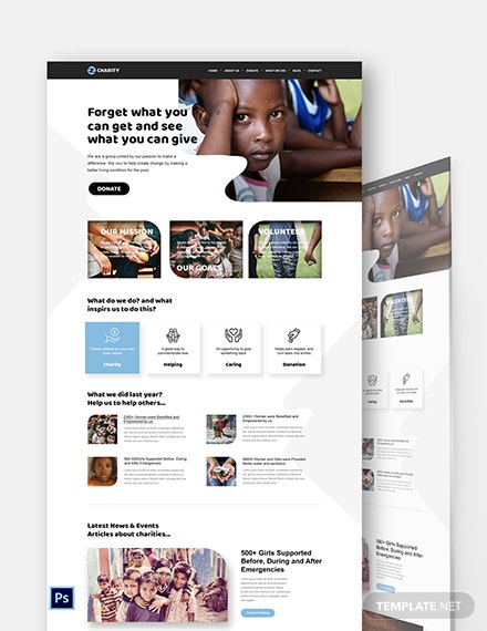 Charity PSD Landing Page Template