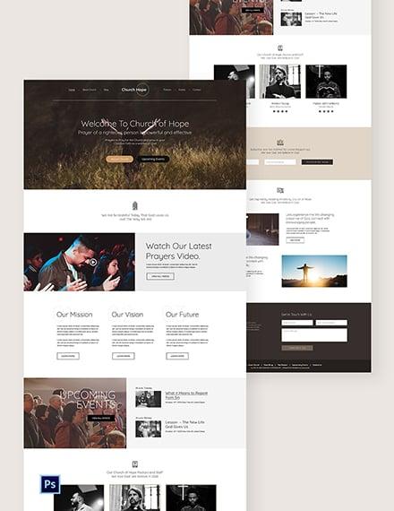 Church PSD Landing Page Template