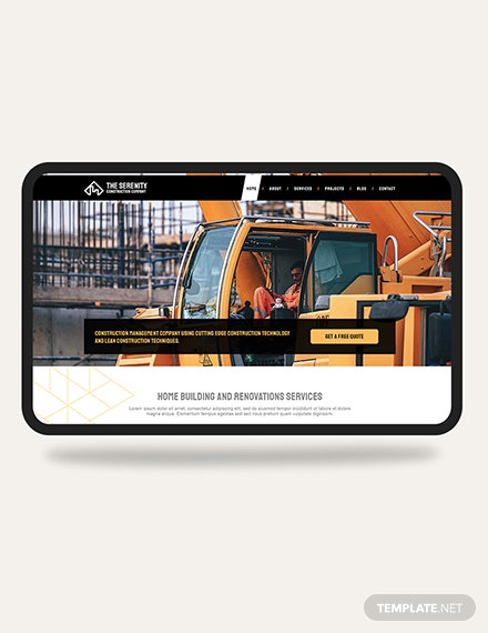 Construction Company PSD Landing Page Template Download