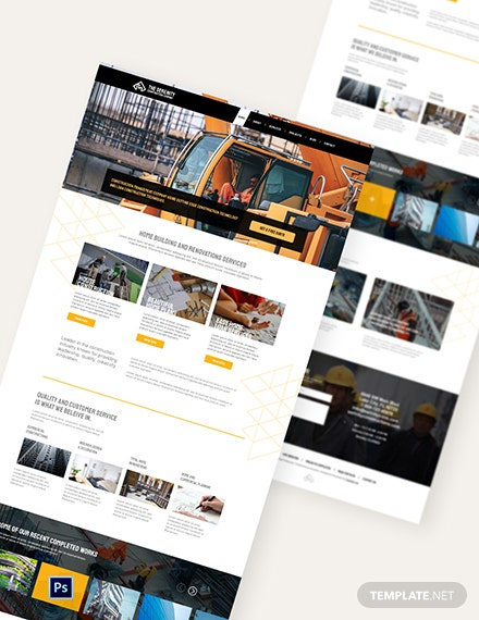 Sample Construction Company PSD Landing Page Template