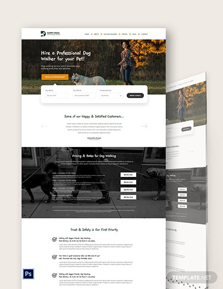 Dog Walker PSD Landing Page Template