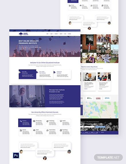 Education PSD Landing Page Template