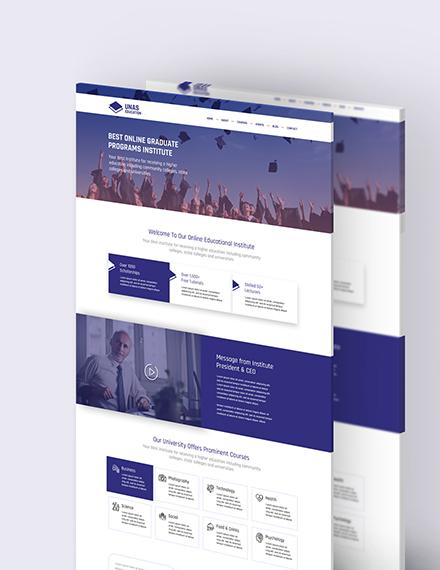 Sample Education PSD Landing Page