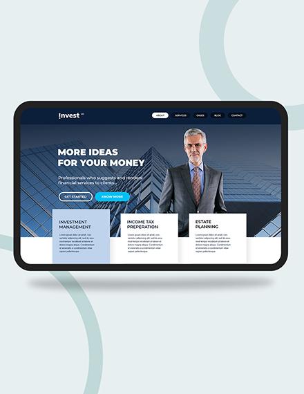 Financial Advisor PSD Landing Page Download