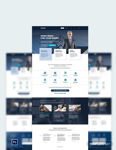 Financial Advisor PSD Landing Page Template
