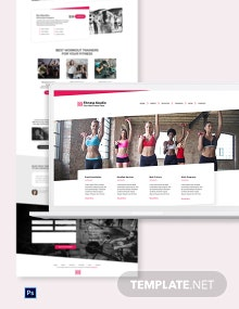 Fitness Studio PSD Landing Page Template