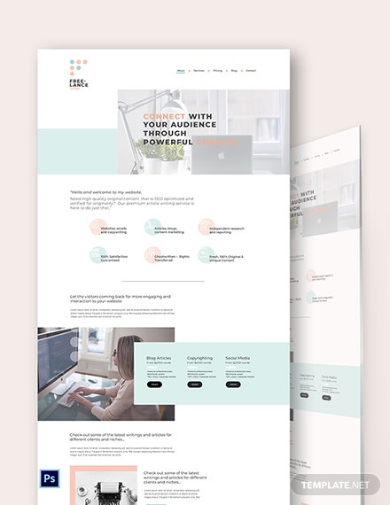 Freelance Writer PSD Landing Page Template
