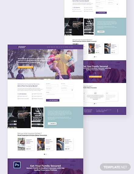 Insurance Agency PSD Landing Page Template