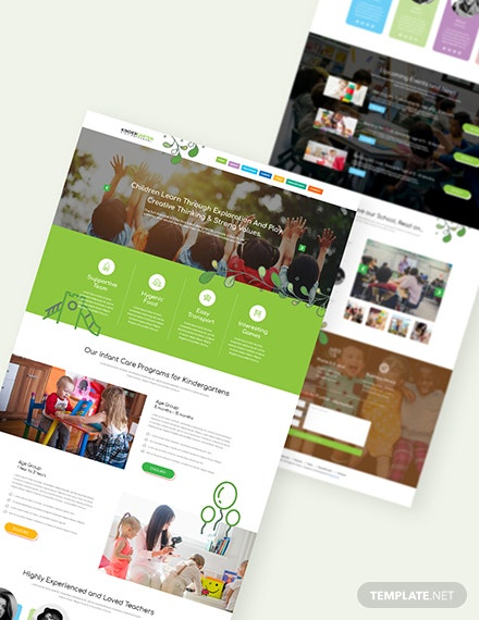 Sample Kindergarten PSD Landing Page