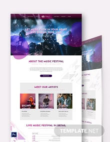 Music Festival PSD Landing Page Template