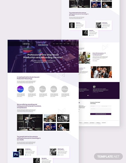 Music Production PSD Landing Page Template