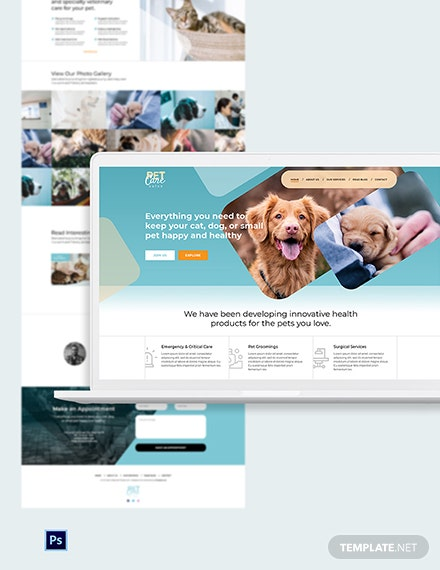 Pet Care PSD Landing Page Template