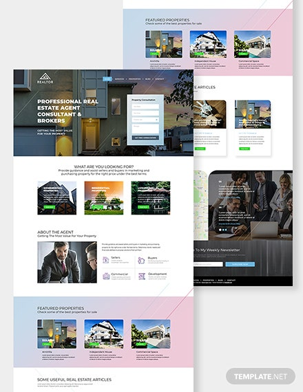 Real Estate Agent Realtor PSD Landing Page Download