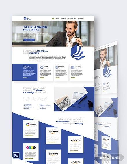 Tax Advisor PSD Landing Page Template
