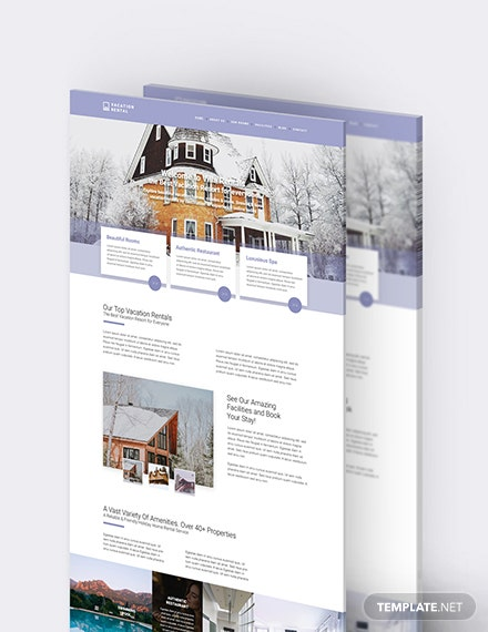 Sample Vacation Rental PSD Landing Page