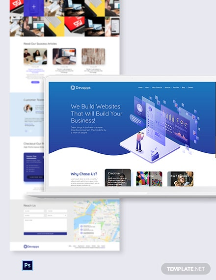 Web & Mobile App Development Services PSD Landing Page Template