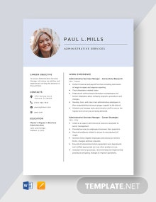 Administrative Service Manager Resume Template