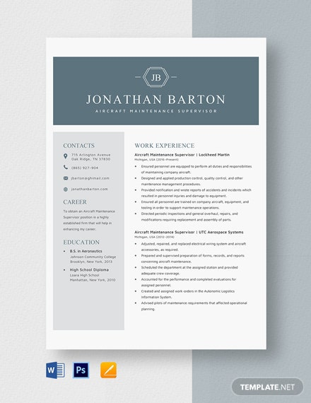 Aircraft Maintenance Supervisor Resume Template