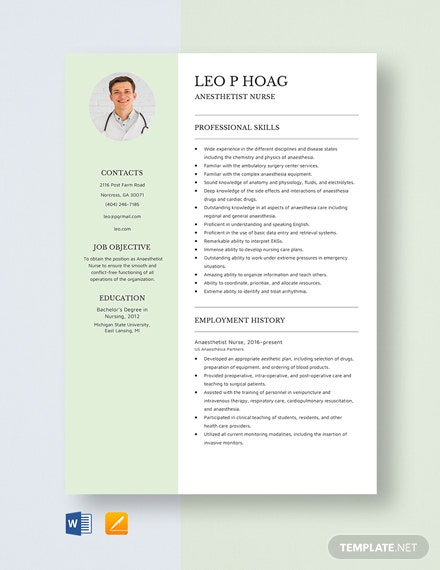 Anesthetist Nurse Resume Template