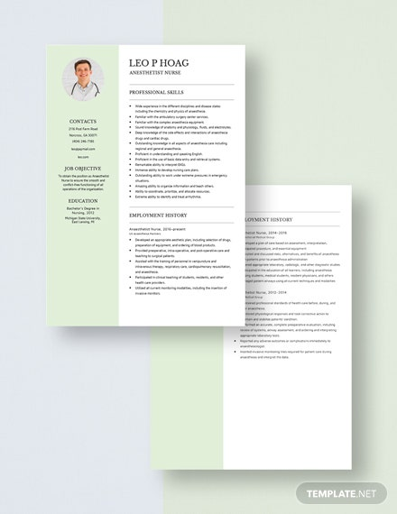 Anesthetist Nurse Resume Download