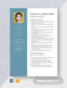 Animal Care Assistant Resume Template