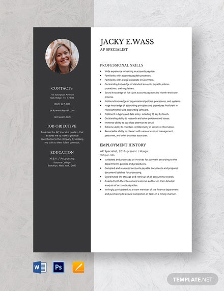 AP Specialist Resume Template