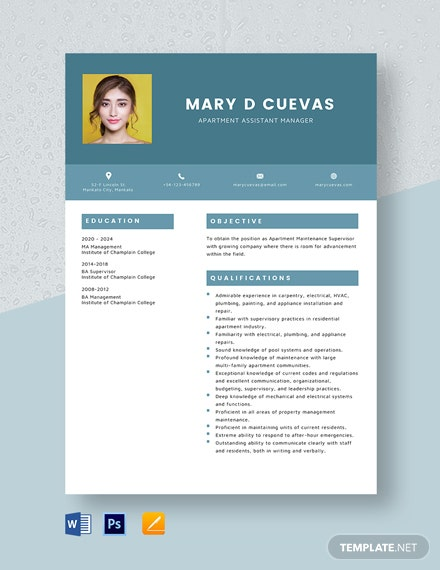 Apartment Assistant Manager Resume Template