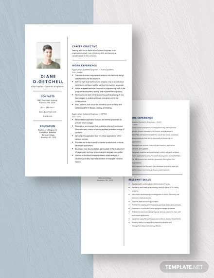 Application Systems Engineer Resume Download