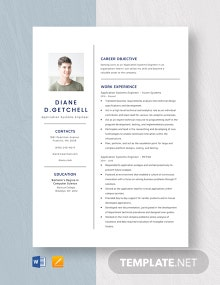 Application Systems Engineer Resume Template