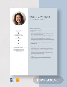 Application Tester Resume Template