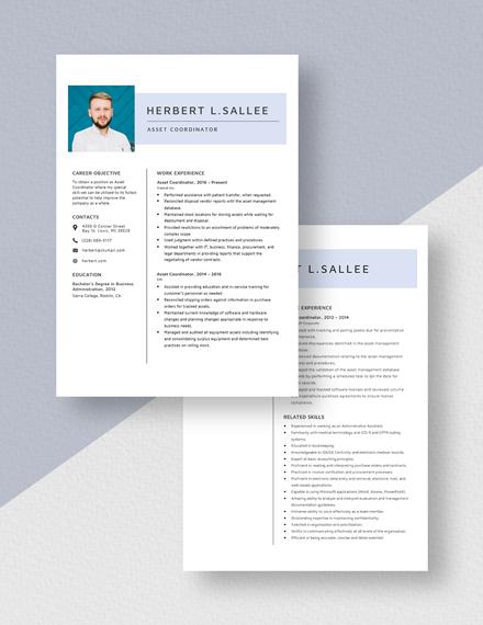 Asset Coordinator  Resume Download