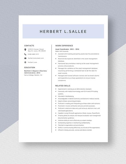 Asset Coordinator  Resume Template