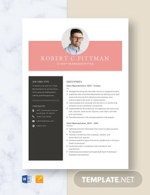 Client Representative Resume Template